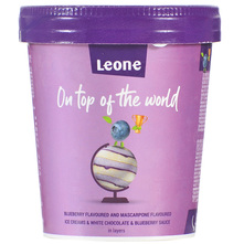 Leone Sladoled borovnica, mascarpone, bijela čokolada 450 ml
