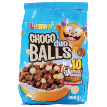 Lumpi Choco balls duo Hrskave žitne kuglice s kakaom i bijelom čokoladom 250 g