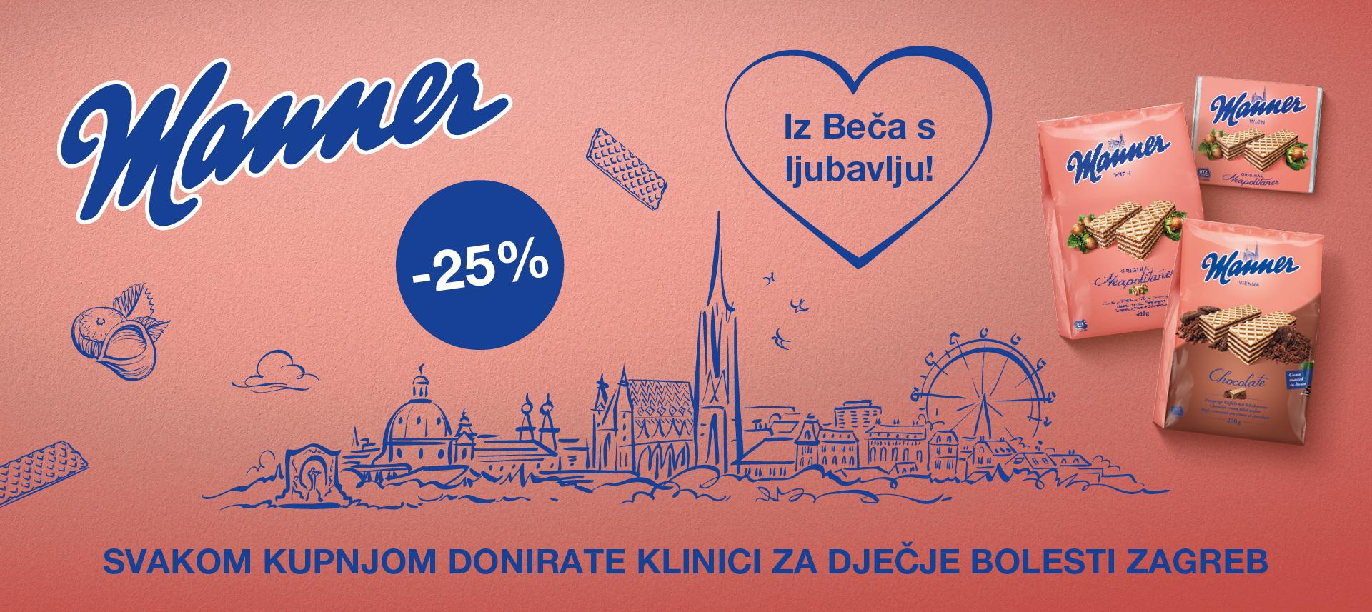 Kupnjom Manner proizvoda donirate Klinici za dječje bolesti Zagreb