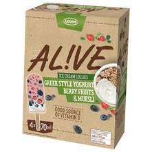 Alive Sladoled grčki tip jogurt, bobičasto voće, muesli 4x70 ml