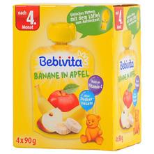 Bebivita Voćni pire jabuka s bananom 4x90 g+žličica
