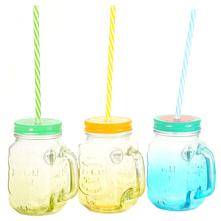 Čaša s poklopcem i slamkom razne boje  8x10,5x13 cm