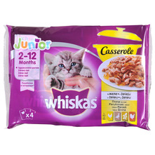 Whiskas Casserole Junior Hrana za mačke izbor peradi 4x85 g