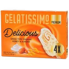 Gelatissimo Premium Sladoled grčki tip jogurt, med, badem 4x100 ml