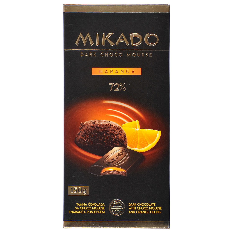 Mikado Tamna čokolada sa choco mousse i naranča punjenjem 150 g ...