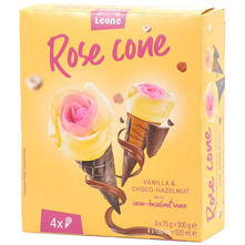 Leone Rose cone Sladoled vanilla choco-hazelnut 4x130 ml