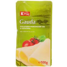 K Plus Gauda Polutvrdi sir u listićima 100 g