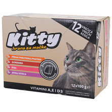 Kitty Hrana za mačke piletina, govedina, jetra, riba 12x100 g