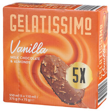 Gelatissimo Sladoled vanilla milk chocolate&almonds 5x110 ml