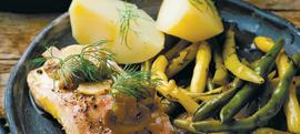 Grilani bakalar s mahunama i krumpirom